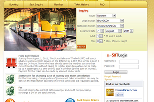 Online vonatjegyrendelés Thaiföldön