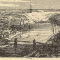 Pest-Buda madártávlatból, 1857