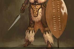 Zulu warrior in traditional costume, film set of Shakazulu
