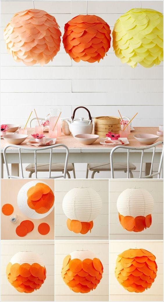 Ötletek a papír gömb lámpa dekorálására