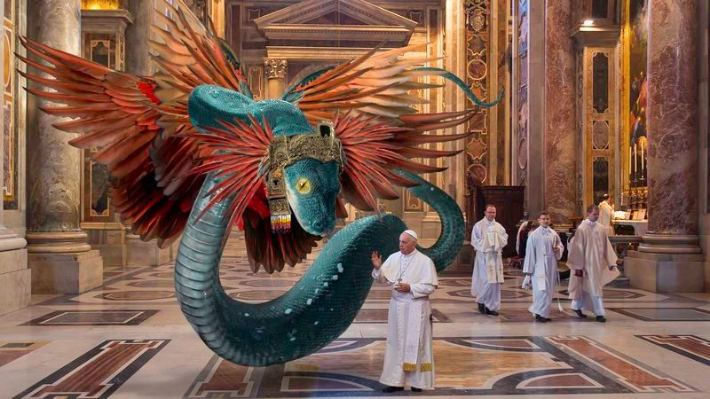Ferenc pápa egy tollas kígyóistenséget fogad az Istenség Csereprogram keretében