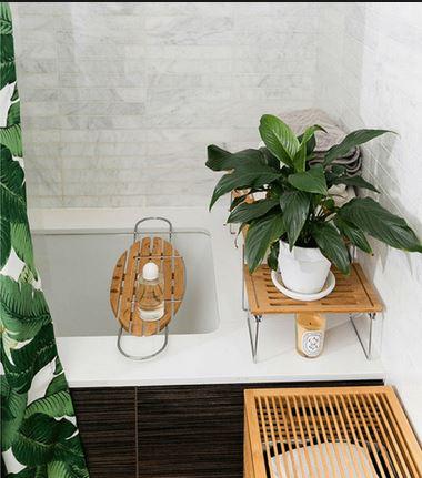 Kis helyen, korlátozott lehetőségek mellett is megoldható a hangulatos növényes fürdőszoba.
