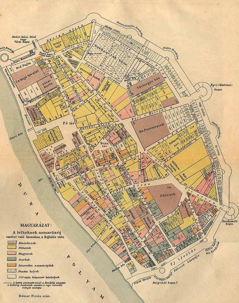 Pest városának térképe 1758-ból