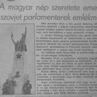 A magyar nép szeretete emelte a szovjet parlamenterek emlékművét