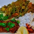 Zöldséges curry fűszeres sütőtök szeletekkel