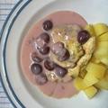 Rozmaringos csirke meggymártással és főtt krumplival