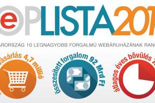 E-TOPLISTA 2016 – A legnagyobb webáruházak listája