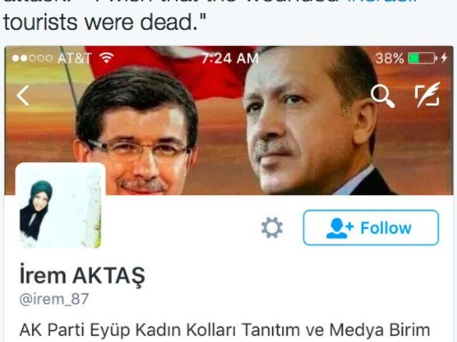 """""""Bárcsak az izraeli sérültek mind halottak lennének"""" – tweetelte Erdogan sajtósa az isztambuli merénylet után"""