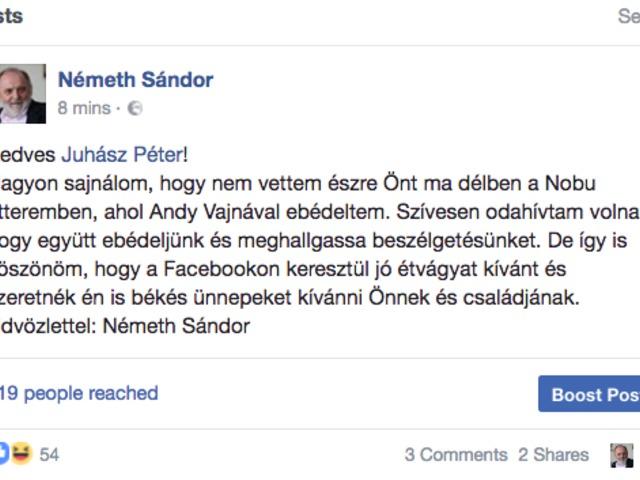 Adventi ebéd: Németh Sándor a Facebookon válaszolt Juhász Péternek