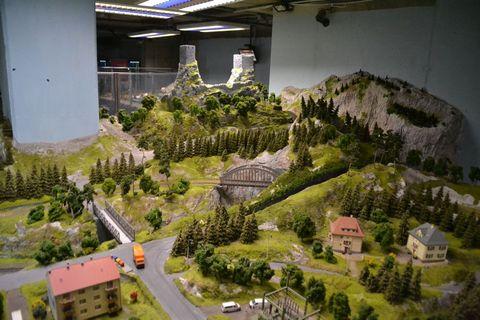 Prága, játékok, vasútmodell, terepasztal,, Království Železnic