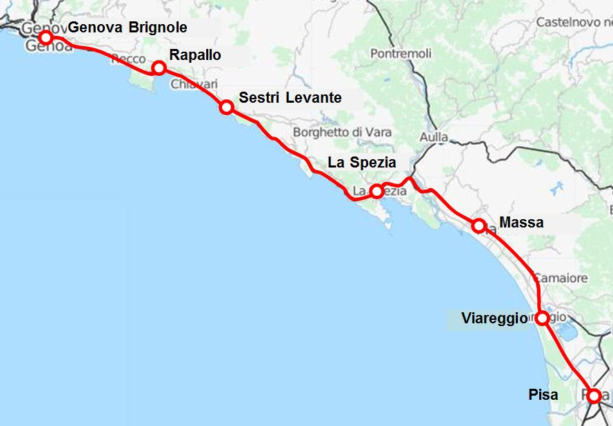 pisa-genova-vasútvonal térkép