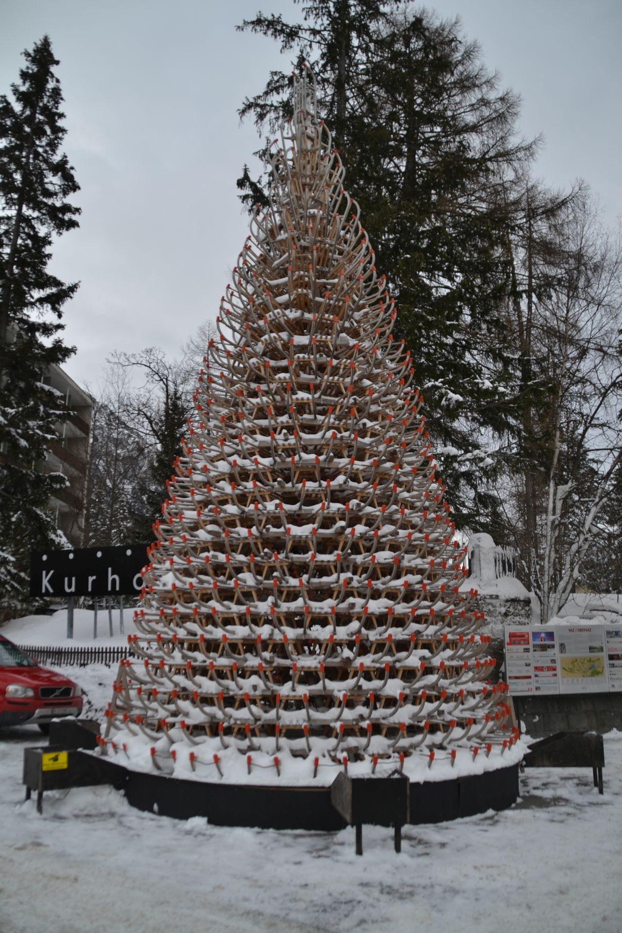 svájc, Lenzerheide, karácsonyfa, szánkó