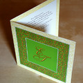 Zöld-arany esküvői meghívó