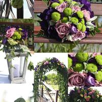 Zöld és lila esküvői dekoráció