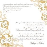 Egyszerű és elegáns esküvői meghívó arany motívummal