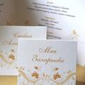 Arany esküvői ültetőkártya és menü
