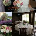 Krém és halvány rózsaszín esküvői dekoráció