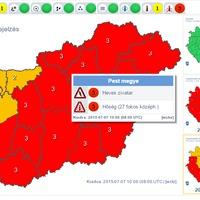 Vörös zivatar figyelmeztetés az ország túlnyomó részére