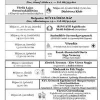 A Békefi Antal Városi Könyvtár, Művelődési Ház és Stúdió KB májusi programajánlója