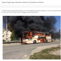 Kiégett egy autóbusz Csetényben