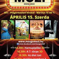 Április 15-én, szerdán ismét MozgóMozi a Zirci Városházán!