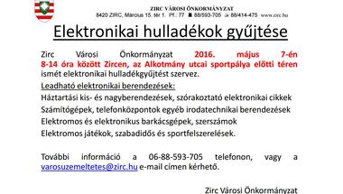 E-hulladék gyűjtés Zircen