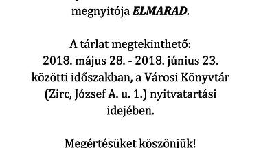 Benyó Ildikó emlékkiállítás megnyitója ELMARAD