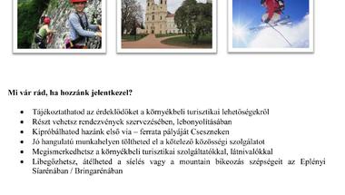 Szakmai gyakorlat és közösségi szolgálat - turizmus Zirc