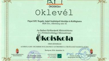 Ökoiskola lett a Reguly Antal Szakképző Iskolája és Kollégiuma