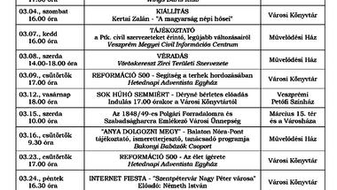 A Békefi Antal Városi Könyvtár, Művelődési Ház és Stúdió KB márciusi programajánlója
