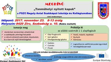 """""""TANMŰHELYI NYITOTT KAPUK"""" a REGULY-ban 2017. november 23-án"""