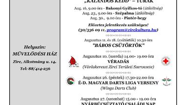 A Békefi Antal Városi Könyvtár, Művelődési Ház és Stúdió KB  augusztusi programajánlója