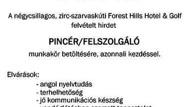 Állásajánlat - Forest Hills Hotel&Golf