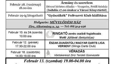 A Békefi Antal Városi Könyvtár, Művelődési Ház és Stúdió KB februári programajánlója