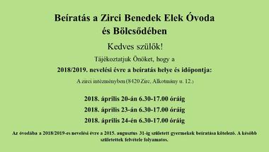Óvodai beíratás 2018/2019 nevelési évre  - és nyílt nap