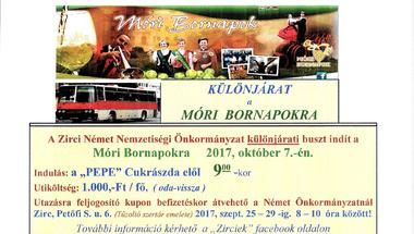 Különjárat indul a Móri Bornapokra - 2017. október 7.