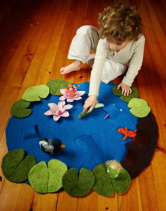 Tó elkészítése a csoportban 1. Kép és az ötlet forrása: http://fionaduthie.blogspot.hu