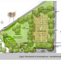 A közösségi kert és pihenőpark vázlatterve