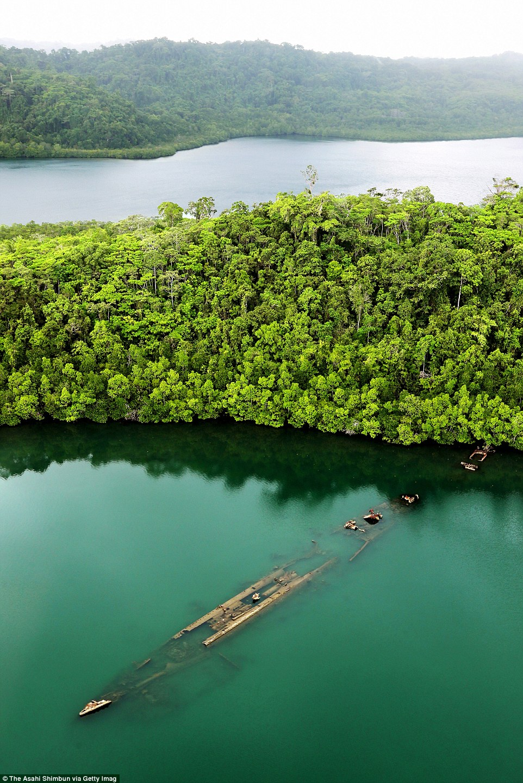 A japán Kikuzuki romboló roncsa a part menti mangrove erdők mellett a salamon-szigeteki Ngella sziget Tokio öblében.