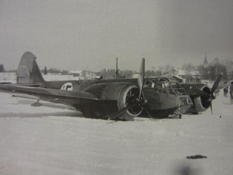 Hasraszállt finn Bristol Blenheim könnyűbombázó 1940. március 7-én