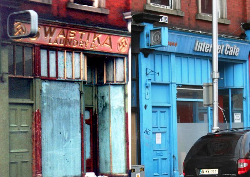 A már bezárt mosoda egy internet kávézó mellett a terület rehabilitációja előtt
