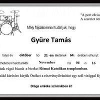 November 4-én lesz Gyüre Tamás búcsúztatása a bicskei katolikus templomban!