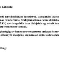 A bicskei Vajda János Gimnázium közleménye a diákok mai haza engedéséről!