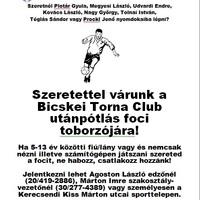 Toborzó: nemcsak focista palántákat, hanem egészséges életmódra vágyó fiatalokat is vár a Bicskei Torna Club!