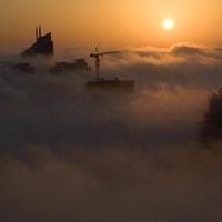 Köd borította városok.