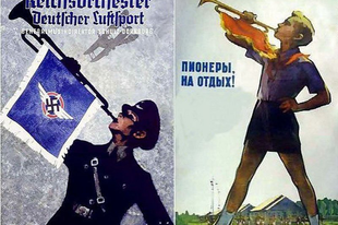 Náci kampány plakátok és Szovjet hasonmásaik