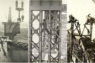 A Sydney-i Kikötő híd (Harbour Bridge) építése.