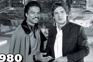 Harrison Ford és Billy Dee Williams 1980-ban és most.
