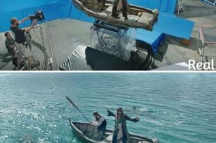 Híres mozifilm jelenetek effektek hozzáadása előtt és után.