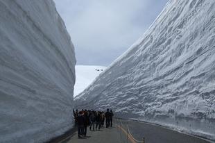 A Tateyama-Kurobe alpesi út, 20 méteres hóban.